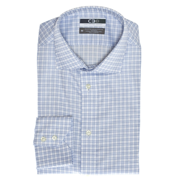 C3 Blue Windowpane Performance Sport Shirt - Thomas Dean & Co