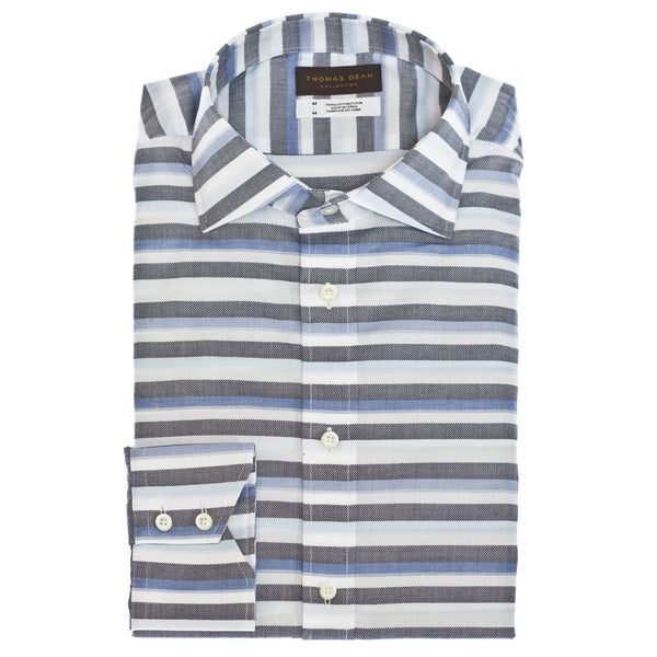 TD Collection Blue Horizontal Stripe Button Down Sport Shirt - Thomas Dean & Co