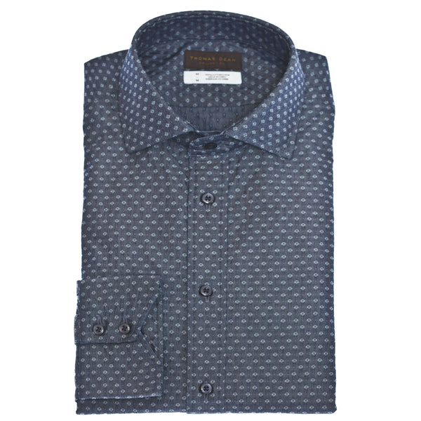 TD Collection Dark Blue Print Button Down Sport Shirt
