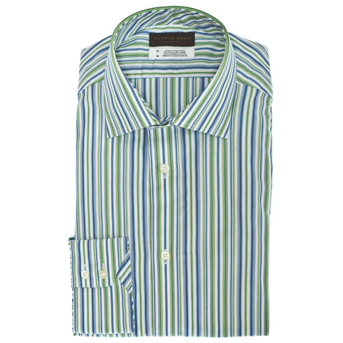 Big & Tall TD Collection Green Stripe Button Down Sport Shirt - Thomas Dean & Co