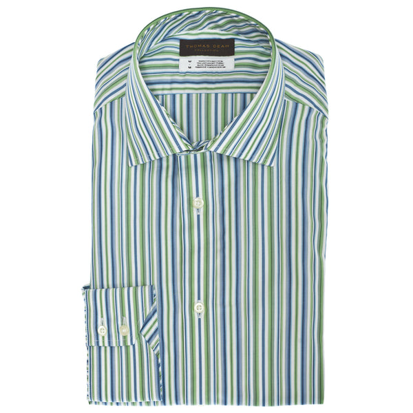 TD Collection Green Stripe Button Down Sport Shirt - Thomas Dean & Co