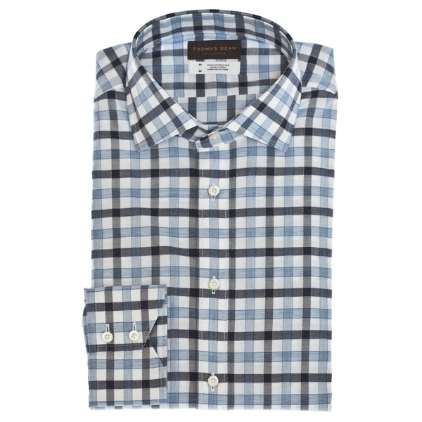 TD Collection Blue Gingham Button Down Sport Shirt - Thomas Dean & Co