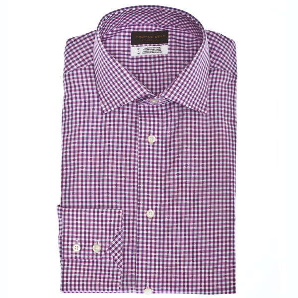 TD Collection Pink Mini Check Button Down Sport Shirt - Thomas Dean & Co