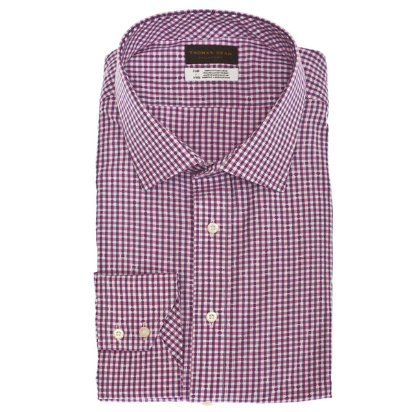 Big & Tall TD Collection Pink Mini Check Button Down Sport Shirt - Thomas Dean & Co