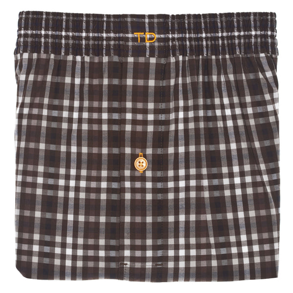 Brown Check Boxer Short - Thomas Dean & Co