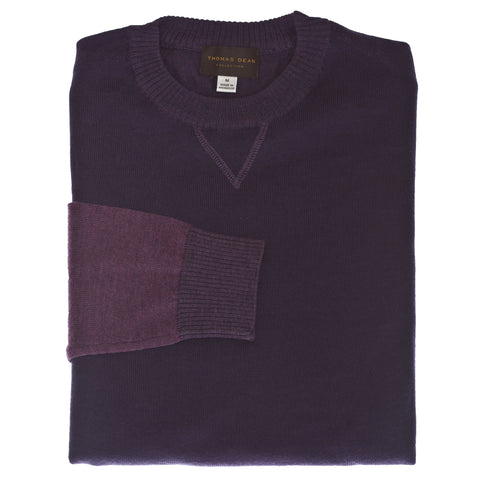 Purple Crew Neck Color Block Sweater