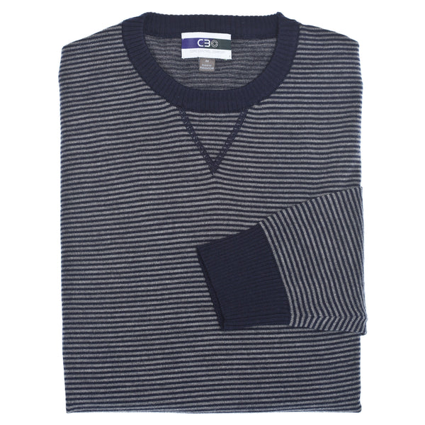 C3 Navy Crew Neck Stripe Sweater - Thomas Dean & Co
