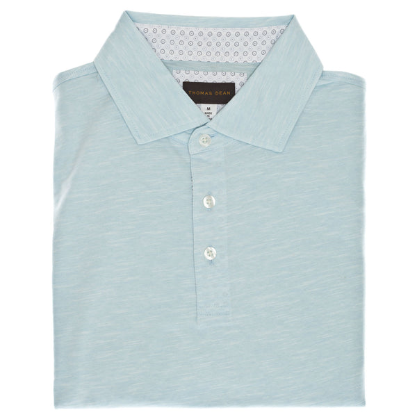 Aqua Cotton Polo - Thomas Dean & Co