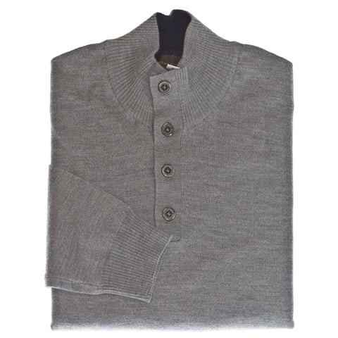 Medium Grey Solid 1/4 Button Merino Wool Sweater