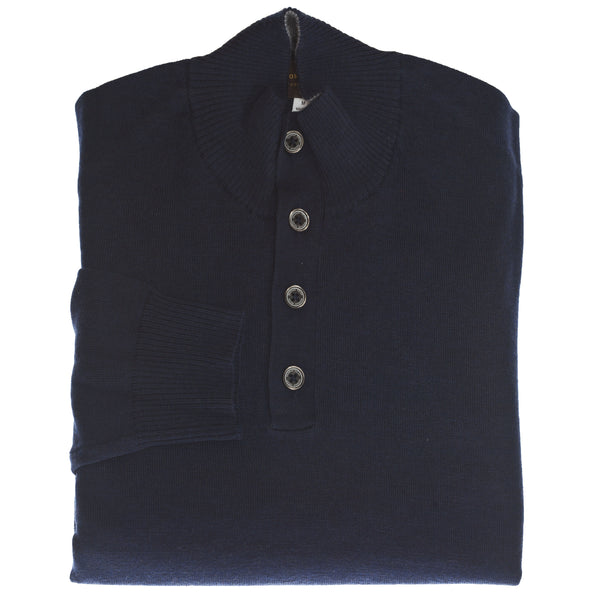 Navy Solid 1/4 Button Merino Wool Sweater