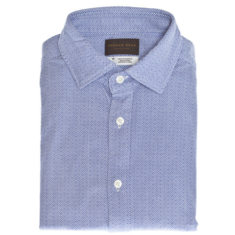 Blue Herringbone Fitted Button Down Sport Shirt