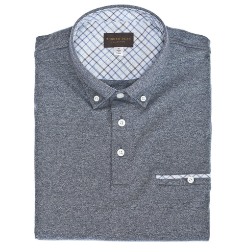 Blue Cotton Button-Down Collar Polo - Thomas Dean & Co