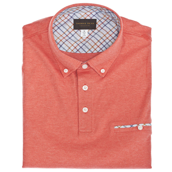 Red Interlock Short Sleeve Cotton Polo