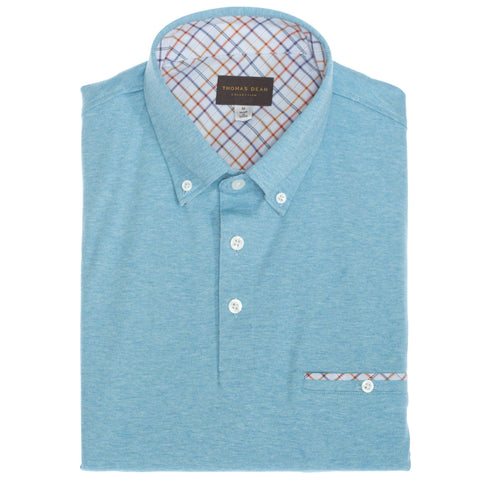 Aqua Cotton Button-Down Collar Polo - Thomas Dean & Co