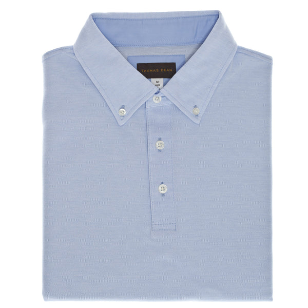 Medium Blue Oxford Pique Polo - Thomas Dean & Co