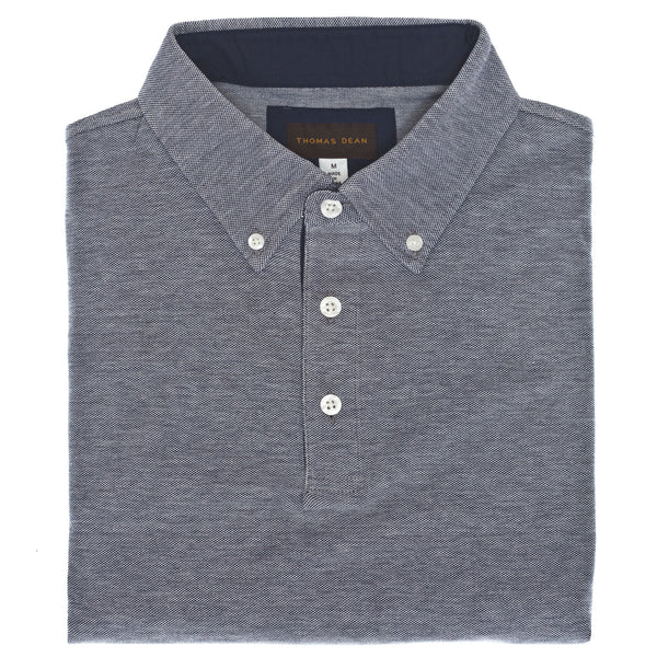 Navy Oxford Pique Polo - Thomas Dean & Co