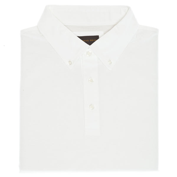 White Oxford Pique Polo - Thomas Dean & Co