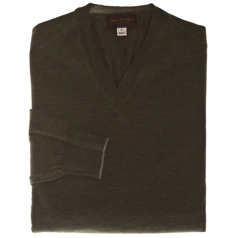 Green Solid V-Neck Wool Sweater