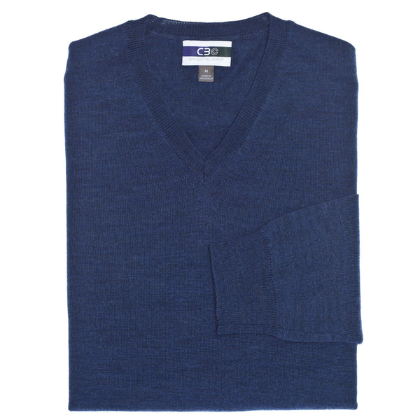 C3 Blue V-Neck Sweater - Thomas Dean & Co