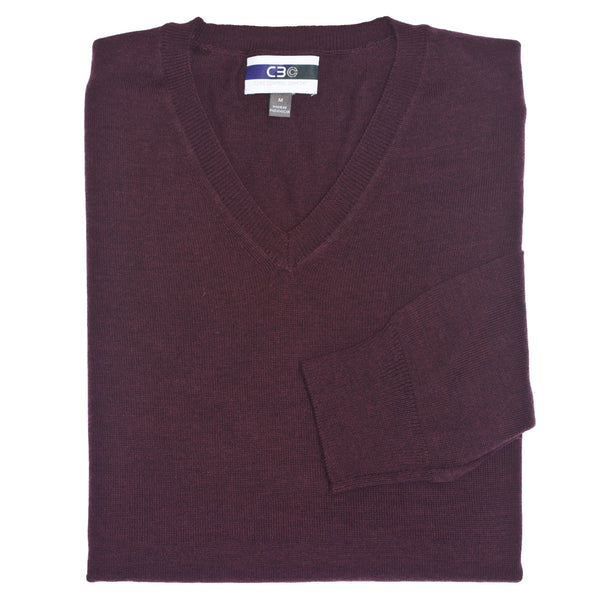 C3 Bordeaux V-Neck Sweater - Thomas Dean & Co