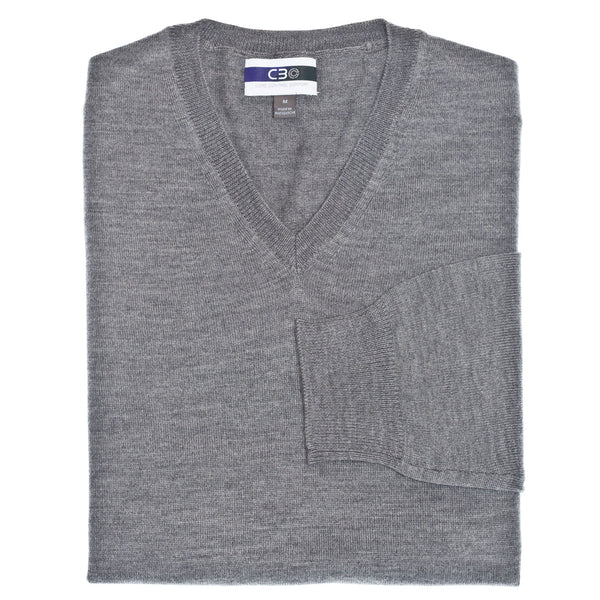 C3 Grey V-Neck Sweater - Thomas Dean & Co