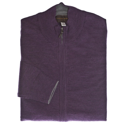 Purple Solid Full Zip Stretch Wool Cardigan