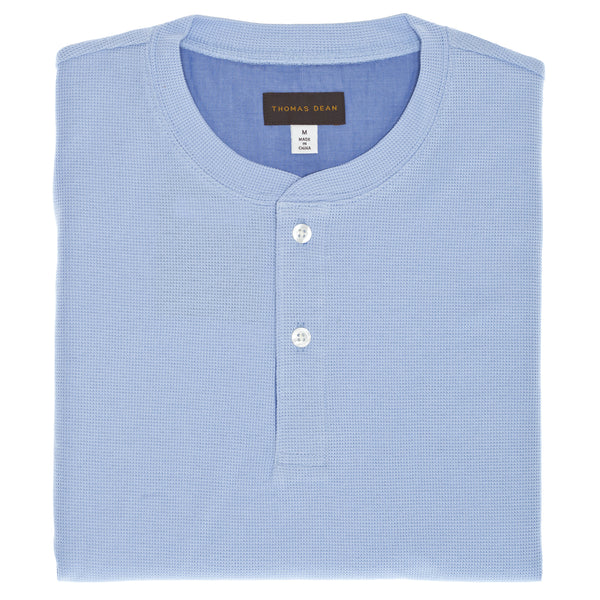 Medium Blue Short Sleeve Waffle Knit Henley