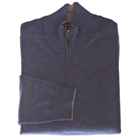 Blue 1/4 Zip Sweater - Thomas Dean & Co.