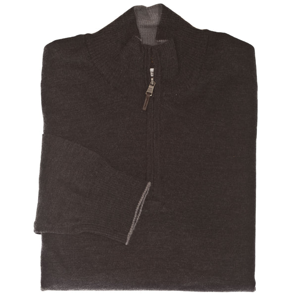 Charcoal 1/4 Zip Sweater - Thomas Dean & Co.