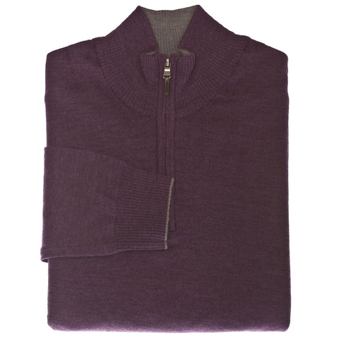 Purple 1/4 Zip Sweater - Thomas Dean & Co.