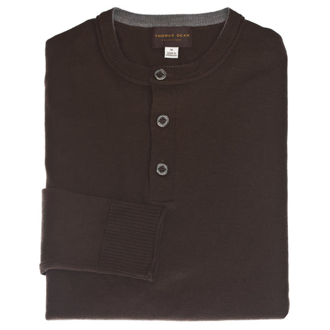 Heather Brown Solid 1/4 Button Wool Sweater
