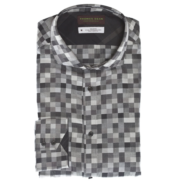 Black Check Performance Sport Shirt - Thomas Dean & Co