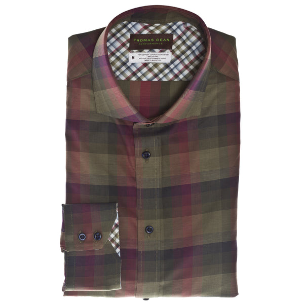 Green Check Performance Sport Shirt