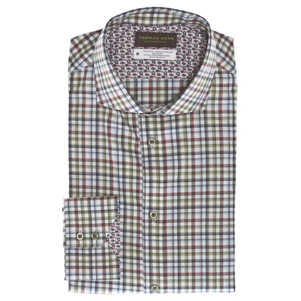 Green Check Performance Sport Shirt - Thomas Dean & Co