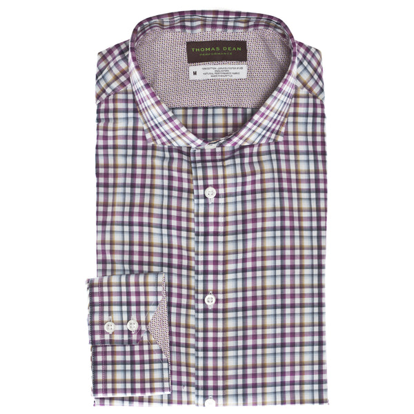 Wine Gingham Performance Sport Shirt - Thomas Dean & Co