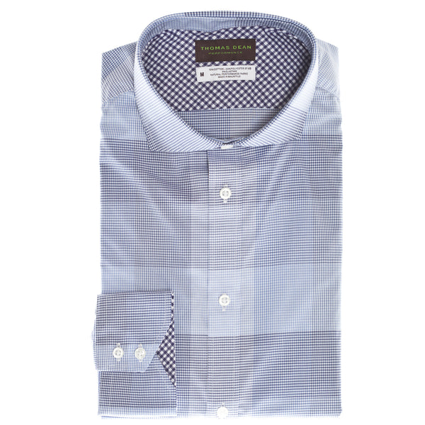 Purple Check Performance Sport Shirt - Thomas Dean & Co