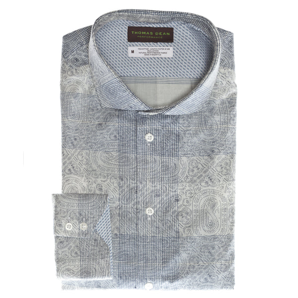 Blue Paisley Performance Sport Shirt - Thomas Dean & Co