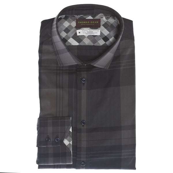 Grey Check Performance Sport Shirt - Thomas Dean & Co