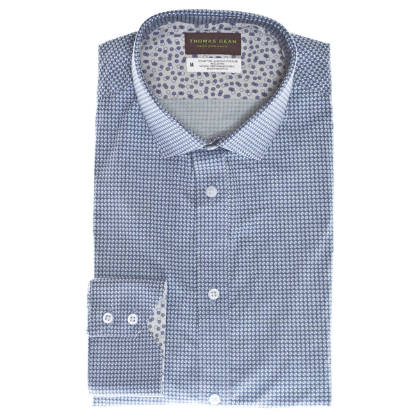 Blue Geo Circle Performance Sport Shirt - Thomas Dean & Co