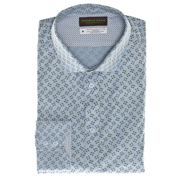 Green Print Performance Sport Shirt - Thomas Dean & Co