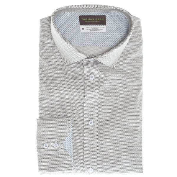 Grey Print Performance Sport Shirt - Thomas Dean & Co