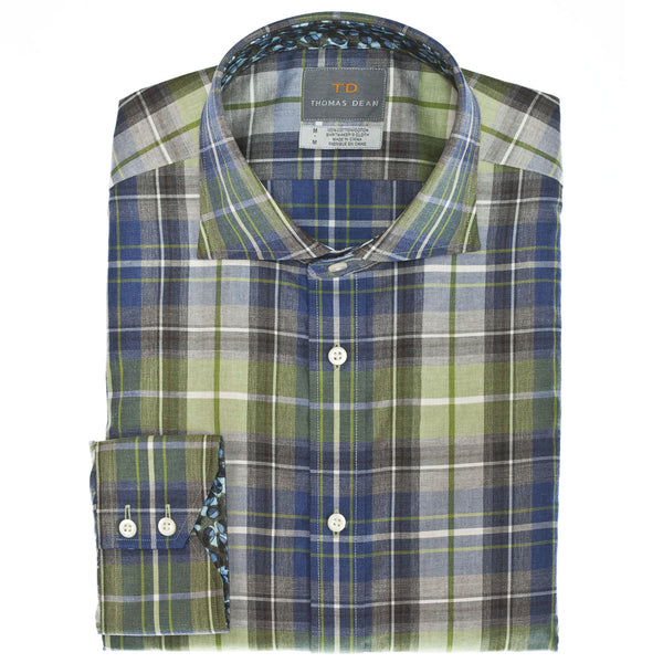 Pine Plaid Button Down Sport Shirt