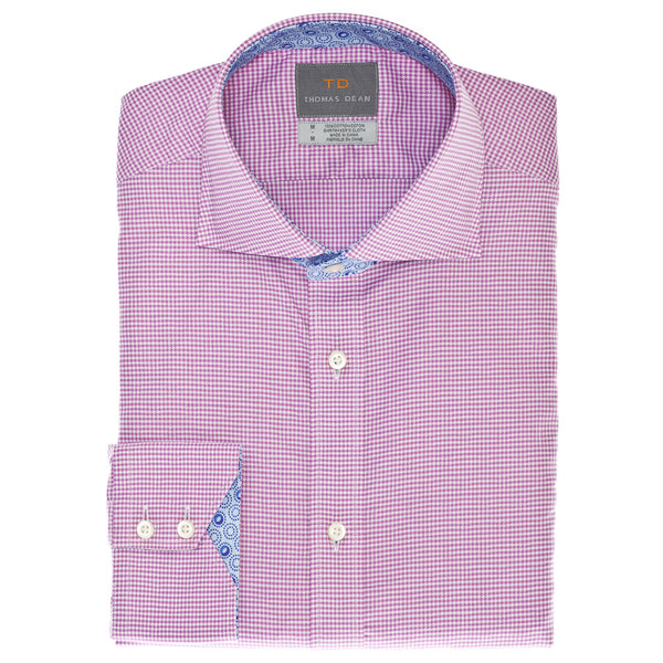 Pink Mini Check Button Down Sport Shirt