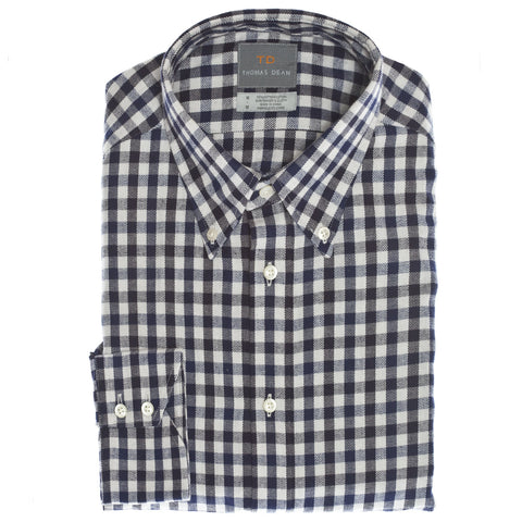 Navy Gingham Button Down Collar Sport Shirt