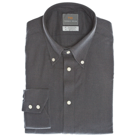 Dark Grey Tonal Button Down Collar Sport Shirt - Thomas Dean & Co