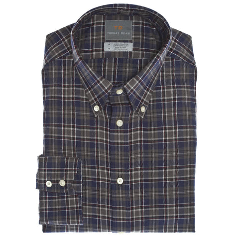 Navy Plaid Button Down Collar Sport Shirt