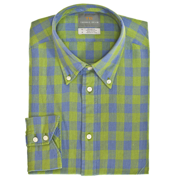 Green Linen Plaid Button Down Collar Sport Shirt - Thomas Dean & Co