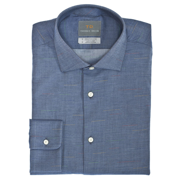 TD Collection Blue Chambray Button Down Sport Shirt - Thomas Dean & Co