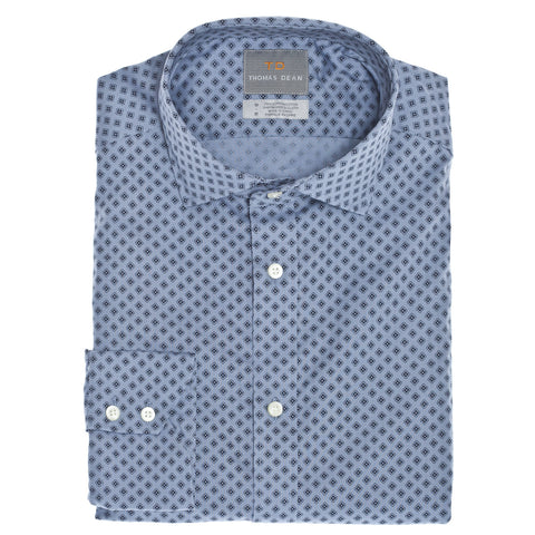 Blue Bubble Print Button Down Sport Shirt - Thomas Dean & Co