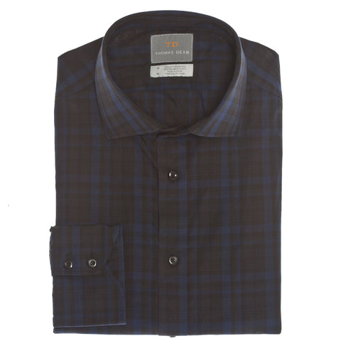Blue Plaid Print Button Down Sport Shirt - Thomas Dean & Co